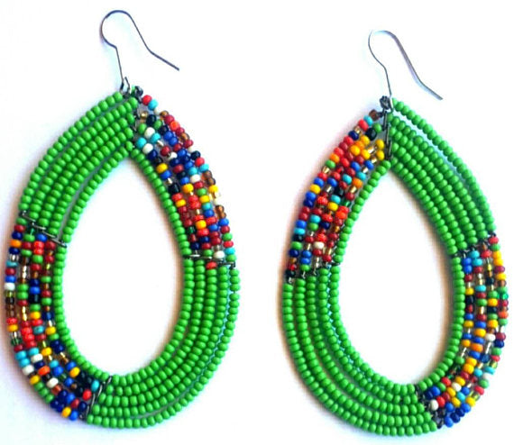 Maasai Teardrop Earring Green