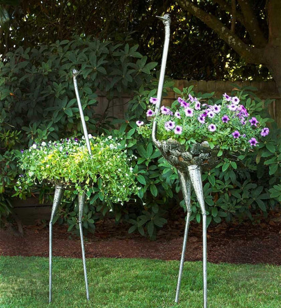 Recycled Metal Ostrich Planter