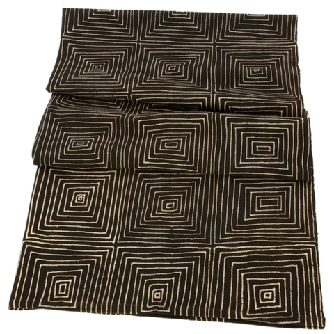Segou Squares Mudcloth Throw | Black