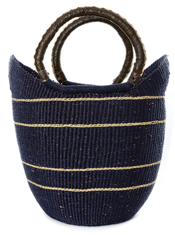 Striped Bolga Shopper w/Leather Handles