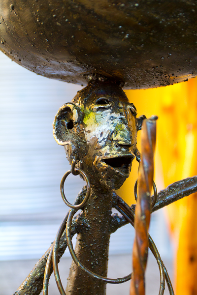 Recycled Metal Warrior Bowl Sculpture with Earrings