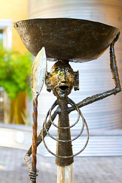 Recycled Metal Warrior Bowl Sculpture without Earrings