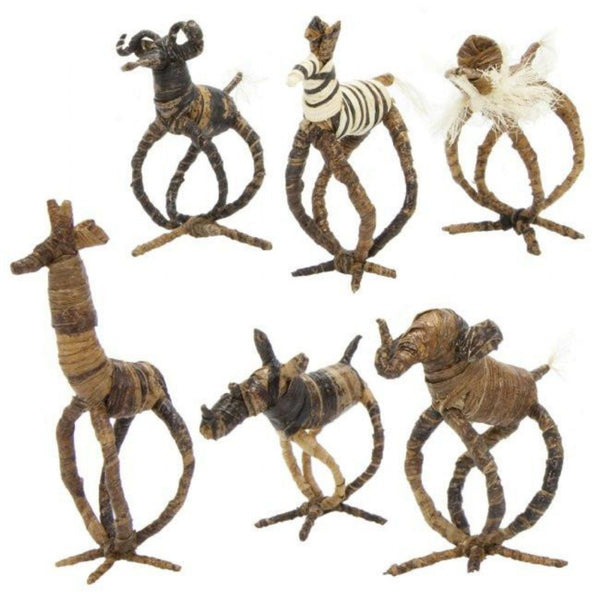 Banana Fiber Animal Napkin Rings | Set of 6 - Ikumba Design Studios - 2