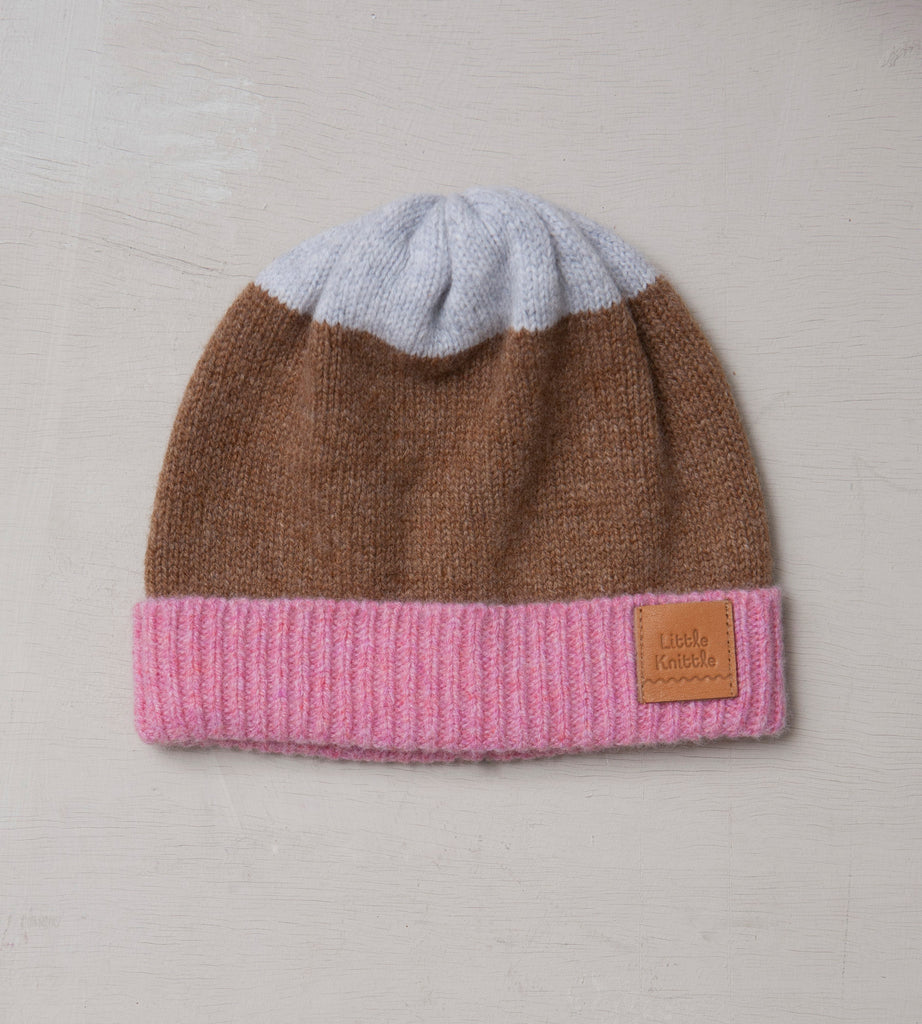 Beanie Hat, Fawn & Rose - Little Knittle
