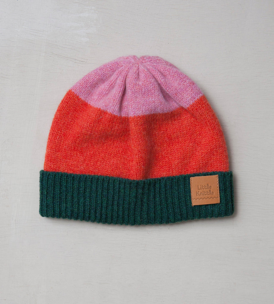 Beanie Hat, Orange & Forest - Little Knittle
