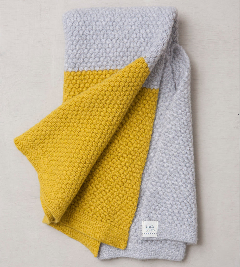 Chunky Bramble Blanket, Cloud and Mustard - Little Knittle