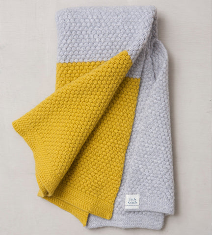 Chunky Bramble Blanket, Cloud and Mustard