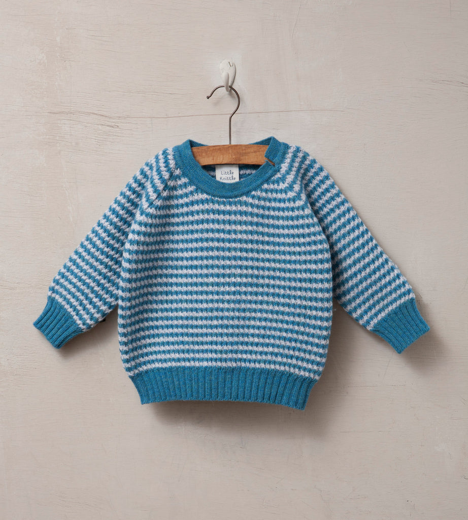 Raglan Sleeved Baby Jumper, Cloud and Turquoise - Little Knittle