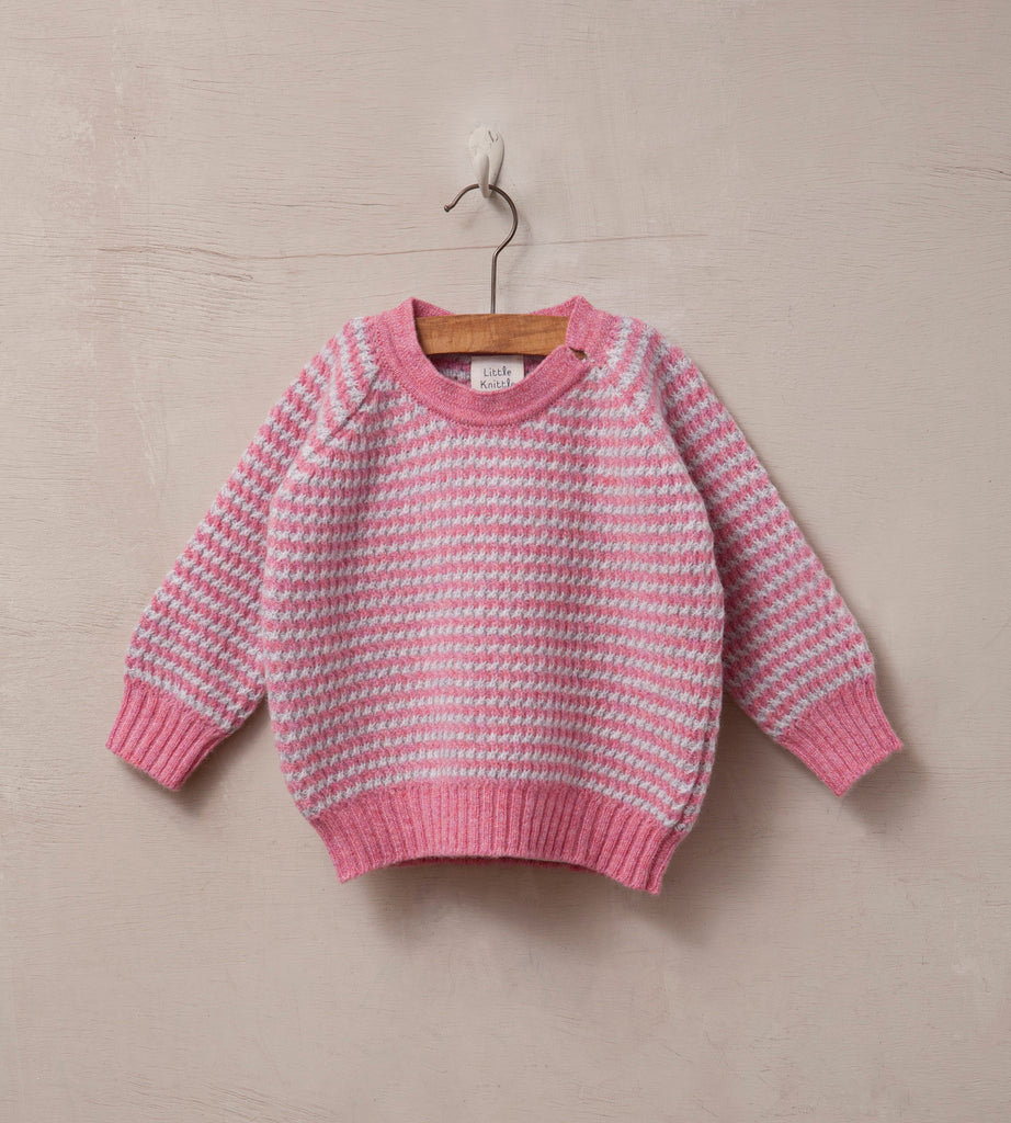 Raglan Sleeved Baby Jumper, Cloud and Rose - Little Knittle
