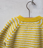 Raglan Sleeved Baby Jumper, Cloud and Mustard - Little Knittle