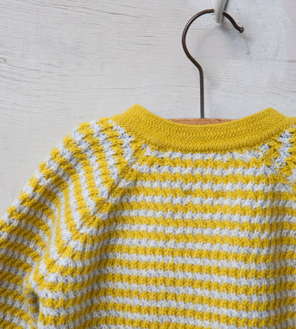 Raglan Sleeved Baby Jumper, Cloud and Mustard