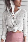 Touchdown Lace-Up V-Neck Sweater