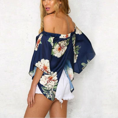 Bahia Asymmetrical Off-The-Shoulder Floral Top