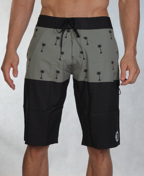 Han Board Shorts - Olive Palm Tree