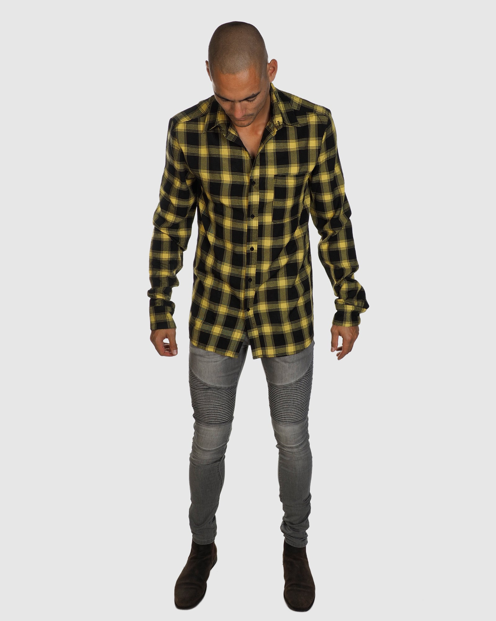 Aussie Flanny Shirt - Yellow/Black Check