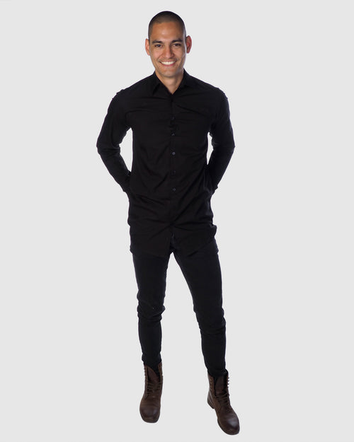 Button Down - Long Sleeve Shirt - Black
