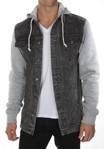 Denim Hoodie Black Denim- Grey sleeves