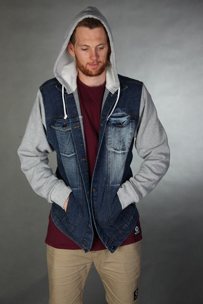 Denim Hoodie Blue Denim- Grey sleeves