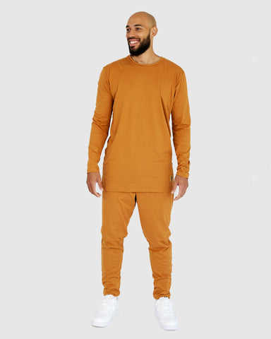Loungewear Lounge Set - Mustard Brown Top and Pants