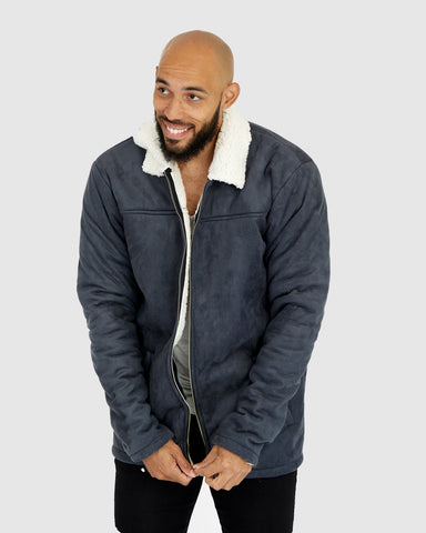 Jai Suede Jacket - CharBlue