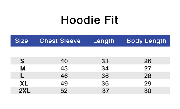 Athlounger Hoodie Size Chart