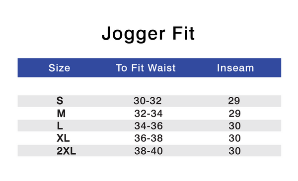 Athlounger Jogger Size Chart