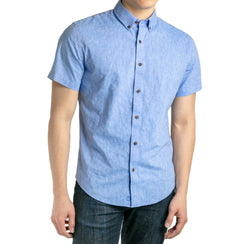 untuck(able) Linen Blue Short Sleeve