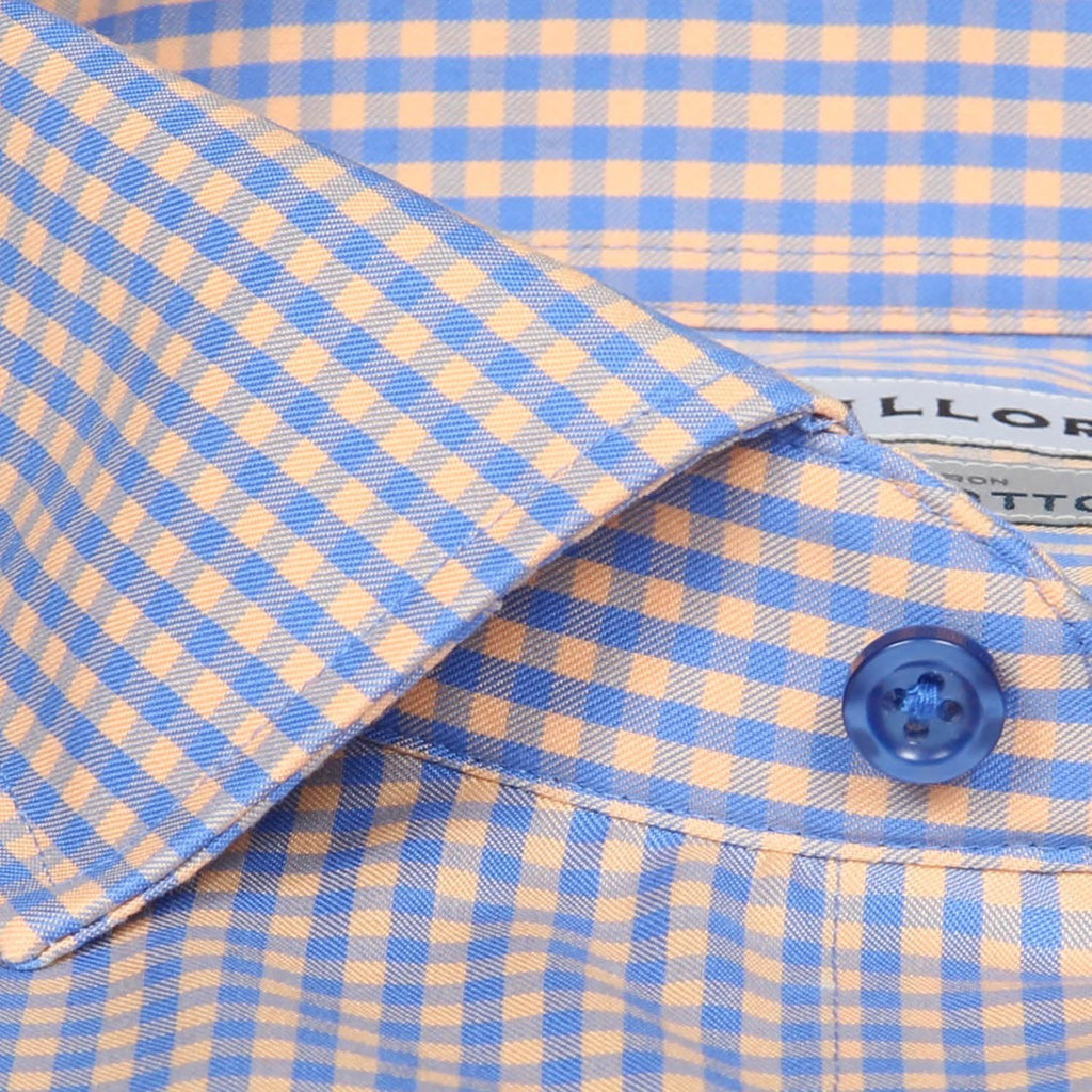 Non-Iron Orange/Blue Gingham