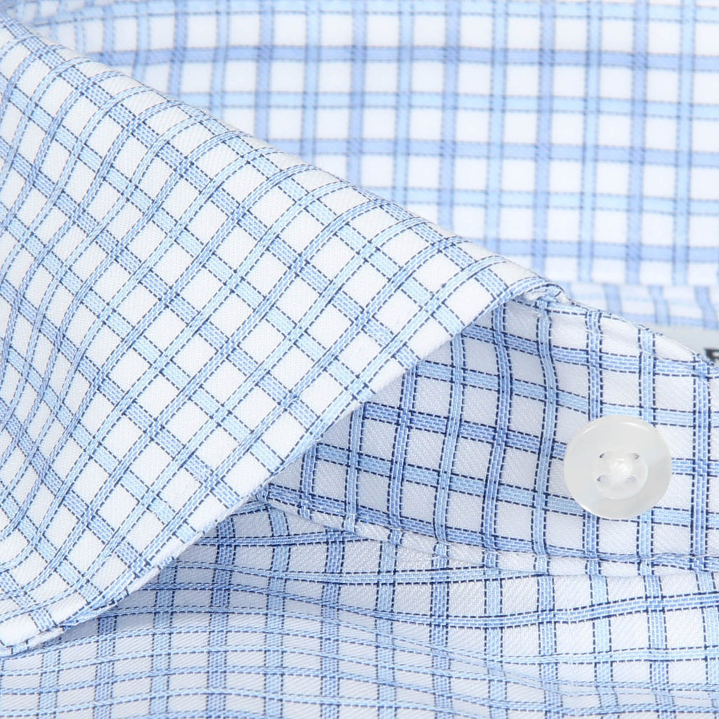 French Cuff Non-Iron Two Blue Check