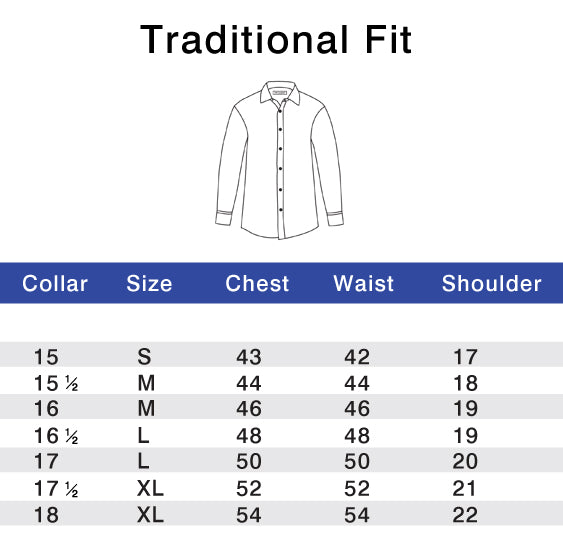 Traditional Fit Chart