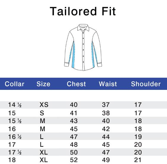 Tailored Fit Size Chart