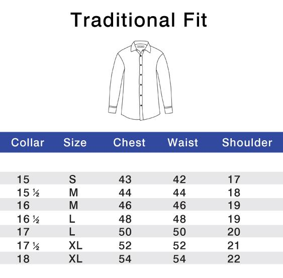 Traditional Fit Size Chart