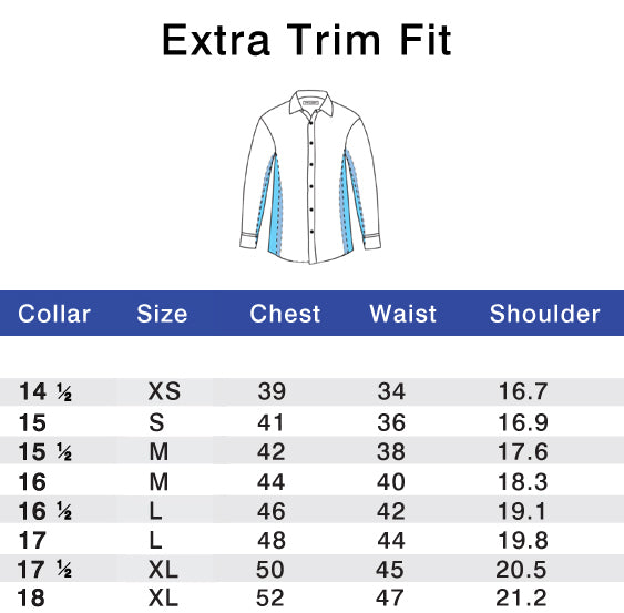 Extra Trim Fit Size Chart