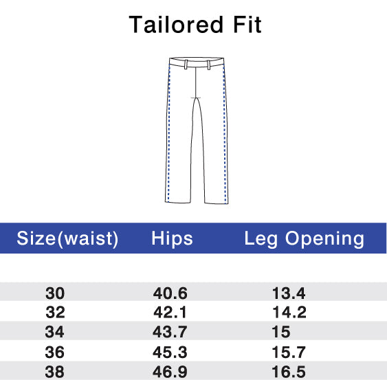 Performance Pants Tailored Fit Size Chart