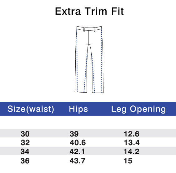 Performance Pants Extra Trim Size Chart
