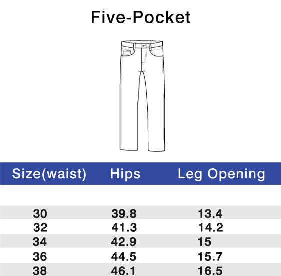 Performance Pants Five Pocket Tailored Fit Size Chart