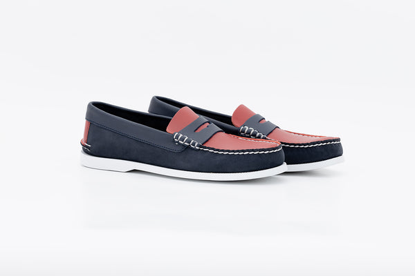 Bayana Penny Boat Shoe Navy-Red