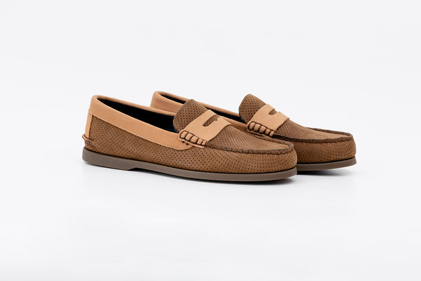 Bayana Penny Boat Shoe Dimpled Brown-Tan