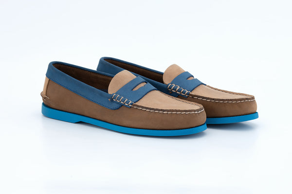 Bayana Penny Boat Shoe Brown-Blue