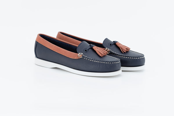 Bayana Venetian Boat Shoe With Tassel  Navy - Coral