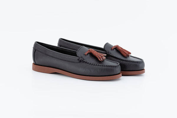 Bayana Venetian Boat Shoe With Tassel  Black-brick