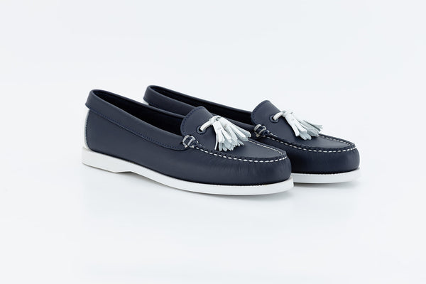 Bayana Venetian Boat Shoe With Tassel  Navy-white