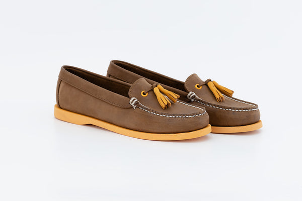 Bayana Venetian Boat Shoe With Tassel  Dk Brown - Yellow