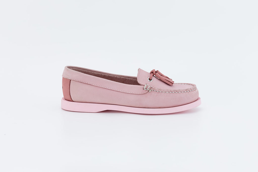 Bayana Venetian Boat Shoe With Tassel  Pink-Rose