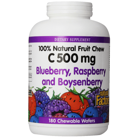 Natural Factors Vitamin C Blueberry Raspberry Boysenberry Chewables 500mg Wafers 180Count