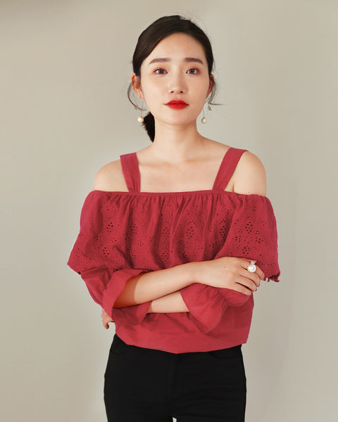Embroidery Ruffle Top (171230)