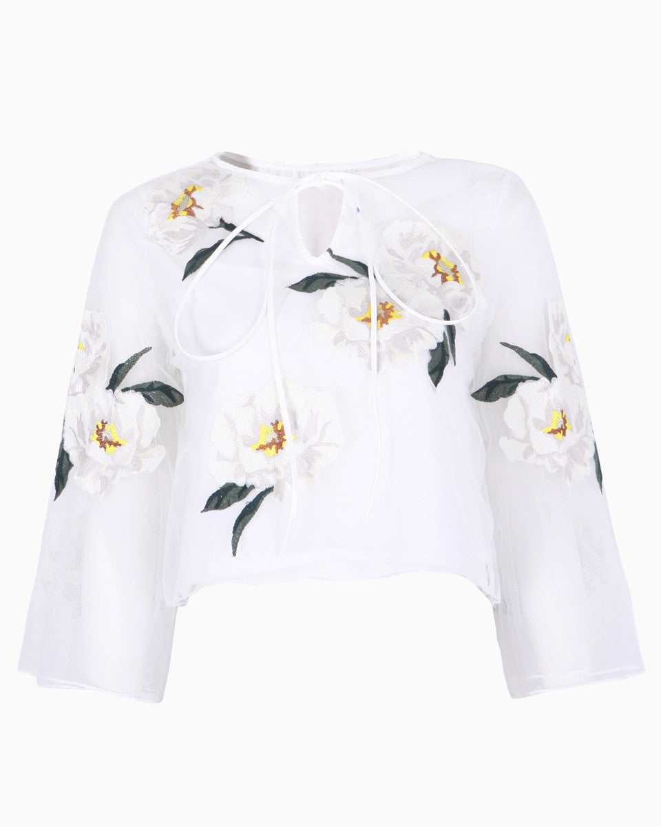 Floral Embroidery Tulle Top (171210)