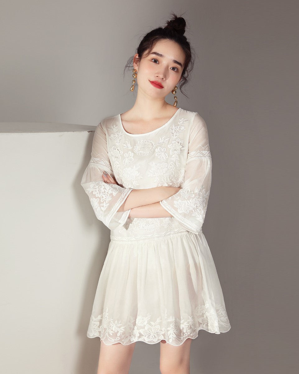 Floral Embroidery Dolly Dress (171267)