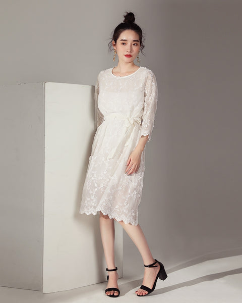 3D Floral Embroidery Dress (171270)