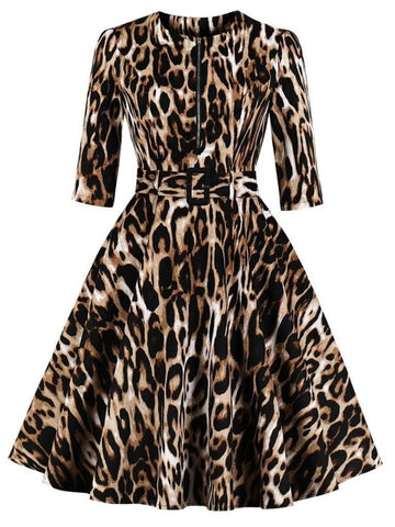 Ellie Leopard Printed Swing Dress